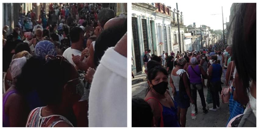 Multitudinaria cola para comprar artículos de aseo en Guanabacoa, La Habana