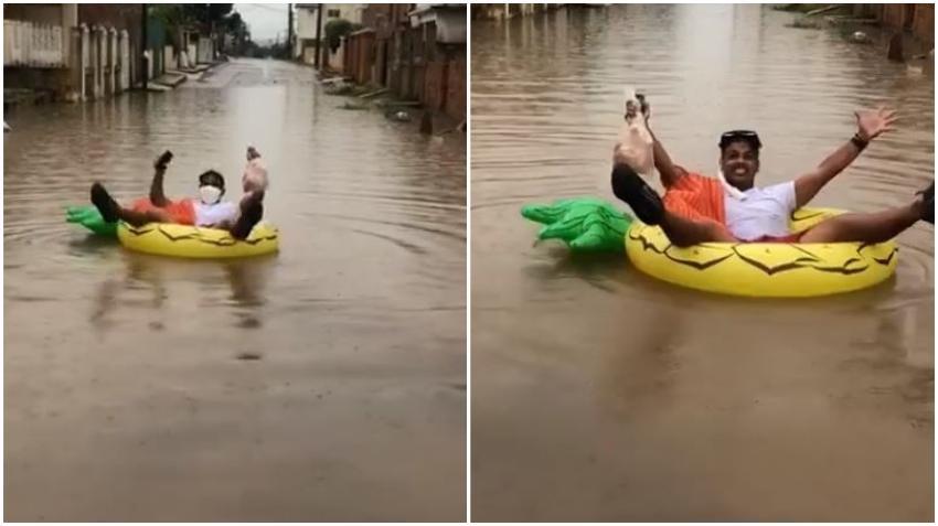 Cubano consigue pollo y se lanza en balsa por las calles de La Habana inundadas