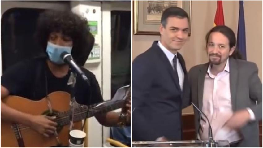Joven músico cubano en el Metro de Madrid arremete contra los comunistas que dirigen España