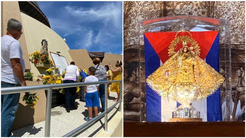Cubanos en Miami acuden a la Ermita de la Caridad del Cobre para llevar girasoles a la virgen