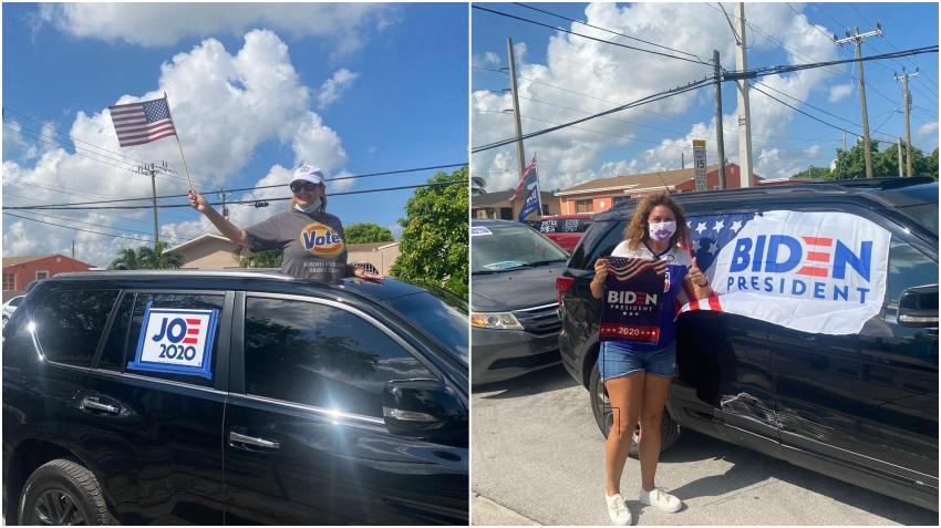 Grupo de cubanos a favor de Biden realizan caravana en Miami