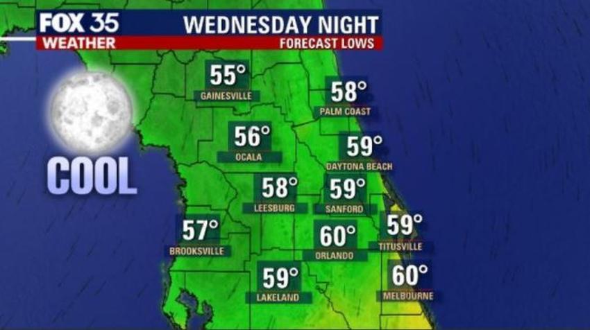Frente frío traerá frescas temperaturas al área de Florida Central para mediados de semana