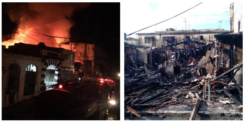 Varias viviendas seriamente afectadas por un incendio de grandes proporciones en Diez de Octubre