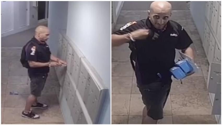 Hombre en uniforme de FedEx queda grabado en cámara robando en buzones de un condominio en Miami Beach