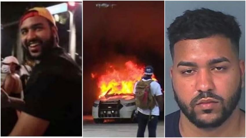 Arrestan a joven de 19 años acusado de vandalizar patrulla policial durante protestas en Miami