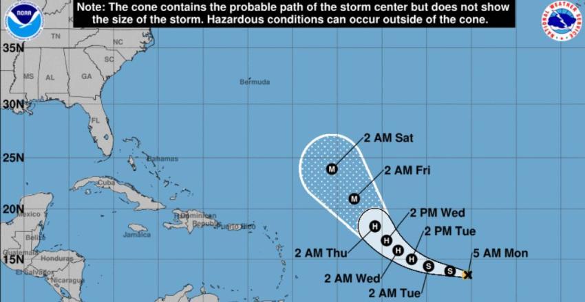 Depresión tropical 20 se convierte en Tormenta Tropical Teddy en el Atlántico