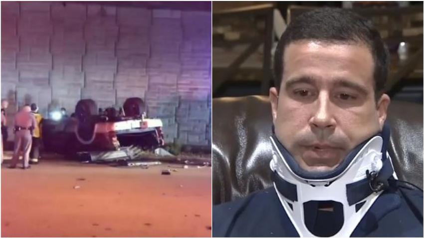 Habla bombero de Hialeah que se cayó en su carro del Palmetto Expressway tras accidente vehicular