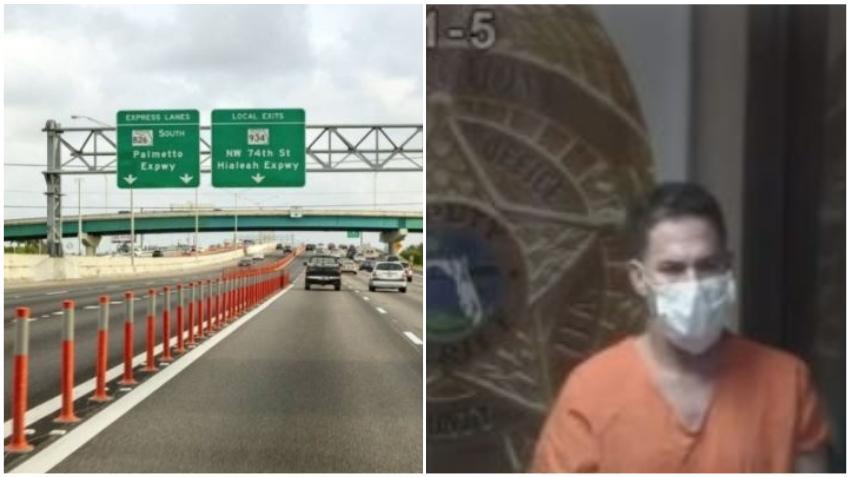 Un cubano es arrestado por disparar al carro de su esposa en el Palmetto Expressway en Hialeah