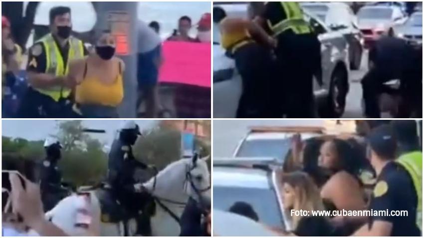 Varios arrestados de Black Live Matters que fueron a provocar a seguidores de Trump en el Downtown de Miami