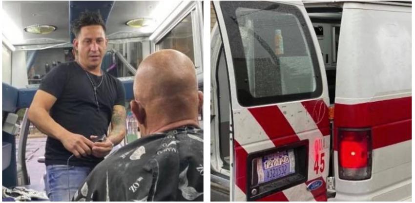 Cubano abre ingenioso negocio en Kentucky: una ambulancia por fuera esconde una barbería en su interior