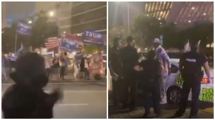 Seguidor de Biden en Miami pone un auto con carteles contra Trump donde se encontraban los simpatizantes del presidente