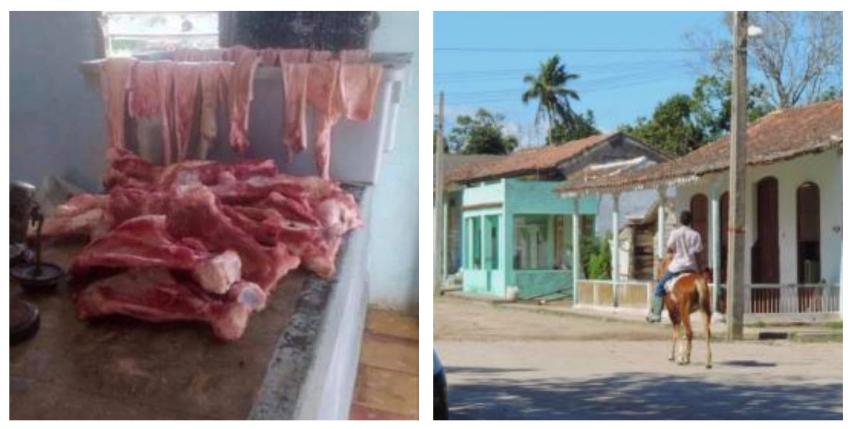 """La única oferta para el pueblo de una carnicería en Zulueta, Villa Clara: """"Hueso y pellejo de cerdo"""""""