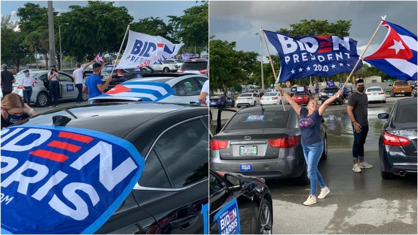 Seguidores del candidato demócrata Joe Biden realizan caravana en Miami