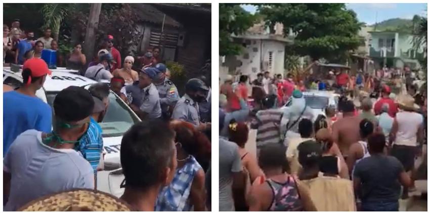 Fuerte enfrentamiento entre la población y la policía en Holguín ha quedado captado en cámara
