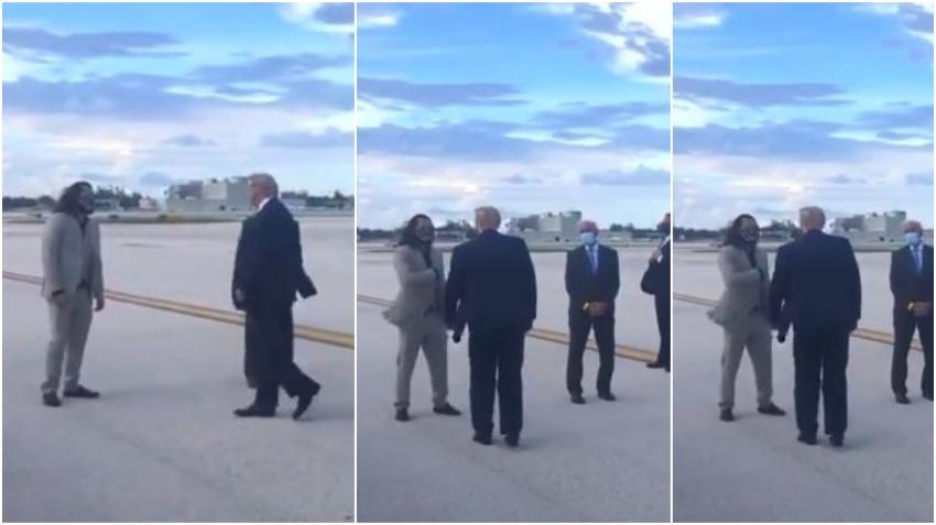 Peleador cubano de UFC Jorge Masvidal recibió a Donald Trump en el aeropuerto de Miami