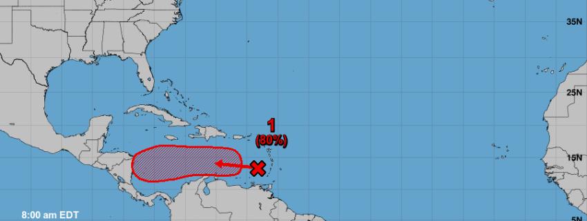 Altas probabilidades de que se forme una nueva depresión tropical en el Mar Caribe