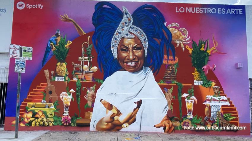 Inauguran mural dedicado a Celia Cruz en el barrio de  Wynwood en Miami
