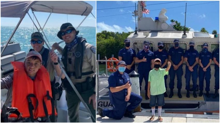 Niño de 11 años es aclamado héroe tras ayudar a rescatar a sus abuelos a la deriva en el mar en los Cayos de la Florida