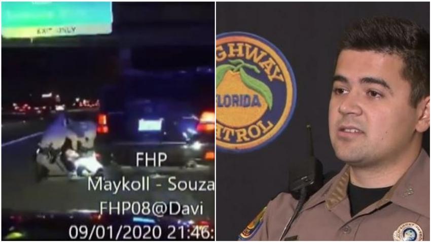 En cámara como un oficial de Florida Highway Patrol le salva la vida a un hombre en la I-95