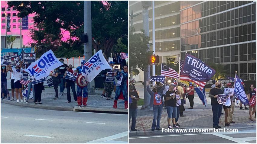 Seguidores de Trump y Biden frente a frente en el Downtown de Miami ante la visita del candidato demócrata