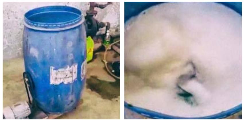 Cubano convierte un tanque de agua plástico en una lavadora casera
