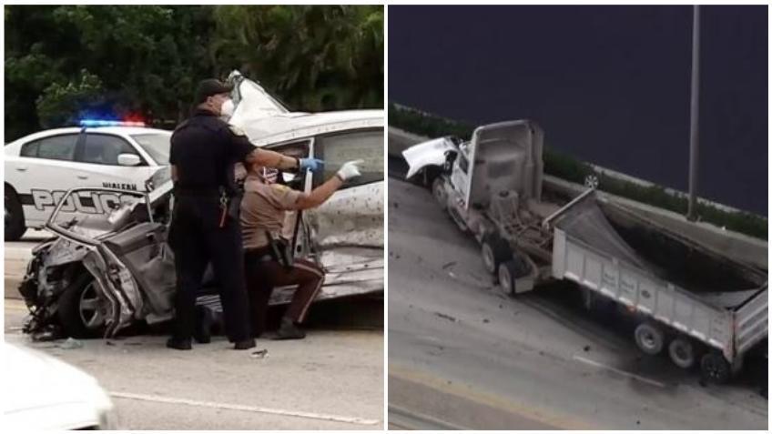 Un accidente en Okeechobee en Hialeah entre un camión y dos vehículos dejó a un joven sin vida