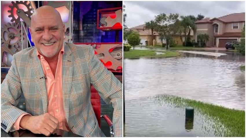 Presentador cubano Carlos Otero muestra cómo vivió las inundaciones en su casa en Miami