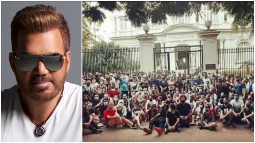 Willy Chirino pone de fondo en su Facebook foto de jóvenes cubanos plantados frente el Ministerio de Cultura y envía mensaje de apoyo