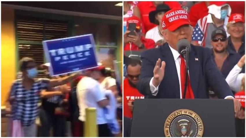 Cubanos en Miami se reúnen en el restaurante La Carreta apoyando a Donald Trump