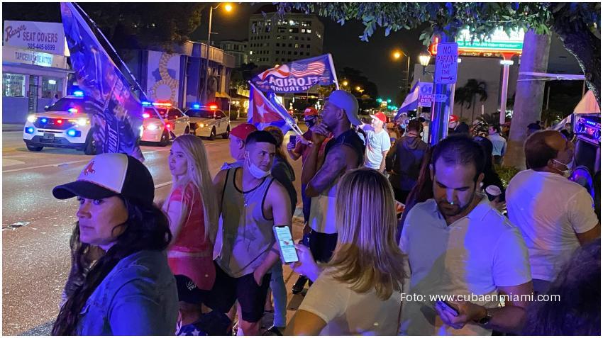 Cubanos en Miami celebran la victoria de Trump en Florida