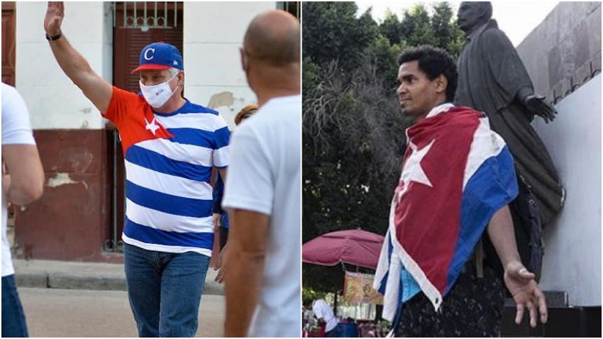 Díaz-Canel sale usando la bandera cubana en su ropa mientras por esa misma razón condenan y acosan a Luis Manuel Alcántara