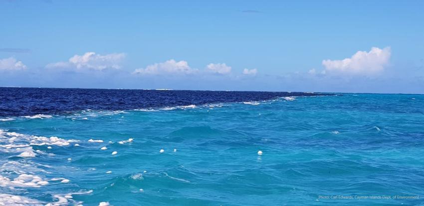 Imagen capta el inusual fenómeno de dos masas de agua de diferente color en Islas Caimán al sur de Cuba