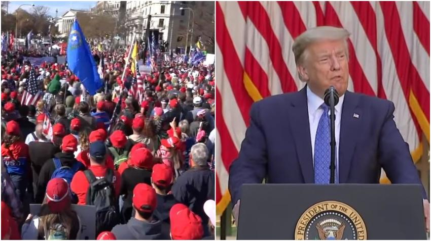 Inmensa marcha en Washington DC en apoyo al presidente Donald Trump