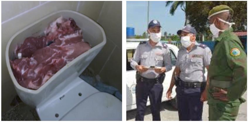 Cubanos procesados por sustraer 380 kilos de carne de primera, que escondían en tanques de inodoro