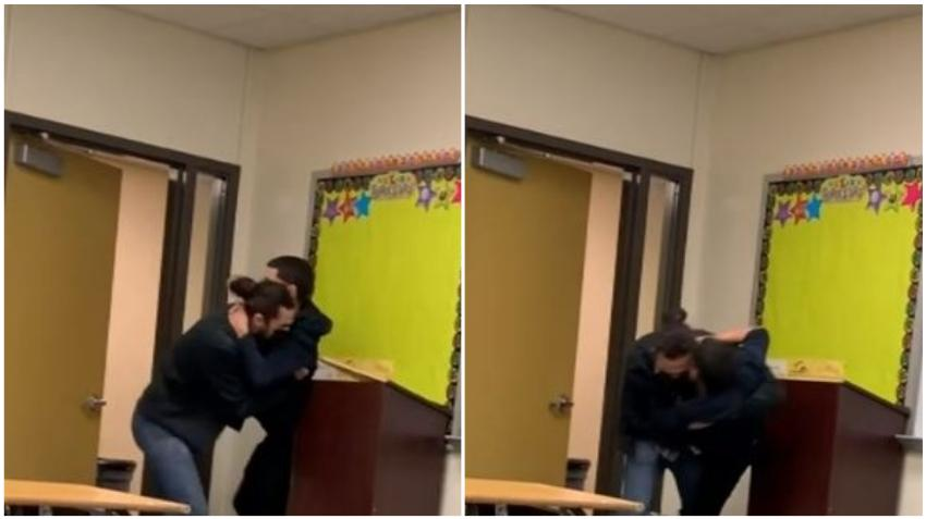 En cámara maestro sustituto de una escuela en Miami Lakes tira al suelo a un estudiante durante altercado en el aula