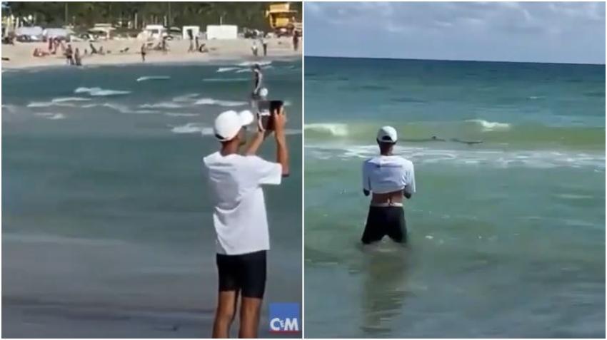 Captan enorme tiburón cerca de la orilla en Miami Beach