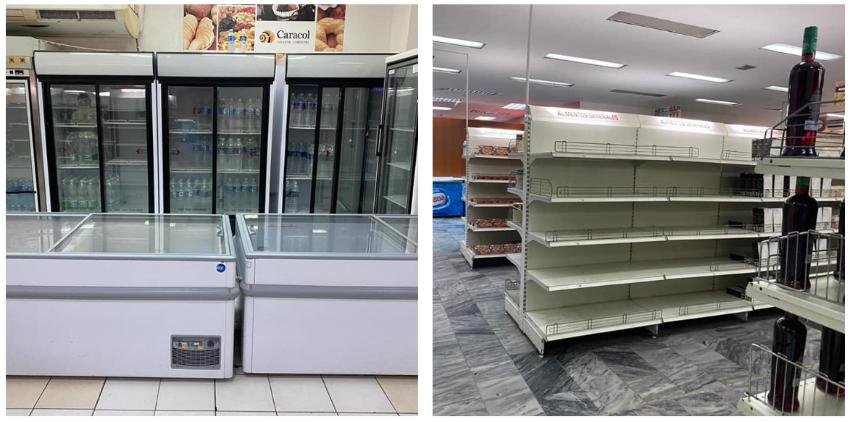 Cuba: Neveras llenas de pomos de agua y estanterías vacías en tienda del Comodoro en CUC