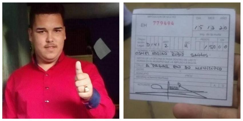 En libertad el activista cubano Adrián Rubio, luego de que le impusieran una multa de 150 pesos