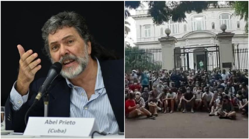"""Abel Prieto llama """"marginales"""" a los miembros del MSI, y dice que los jóvenes que se manifestaron ante el MINCULT """"estaban influidos por las redes"""""""