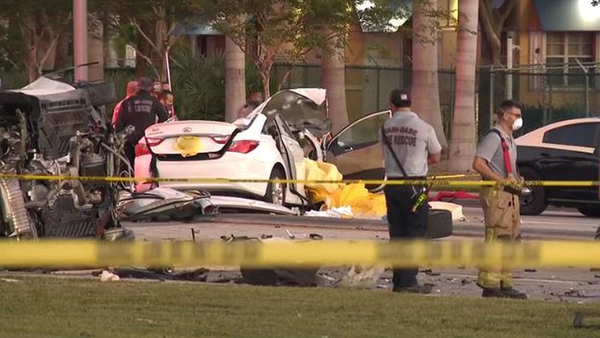 Auto que conducía en dirección contraria en el suroeste de Miami Dade provocó accidente que involucró a otros 6 vehículos