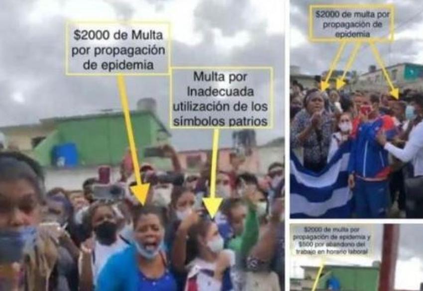 Cubanos señalan todas las violaciones sanitarias y de uso de símbolos patrios de los seguidores de la dictadura en acto de repudio