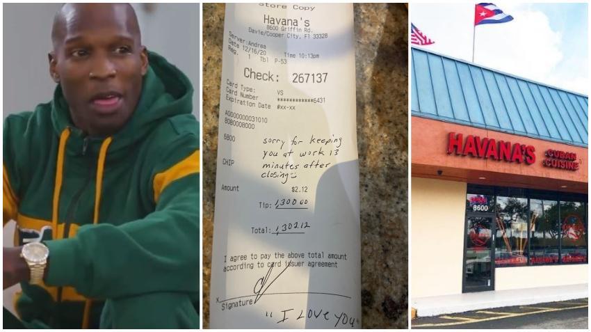 Ex estrella de Fútbol Americano deja propina de $1300 dólares en restaurante cubano en el Sur de la Florida