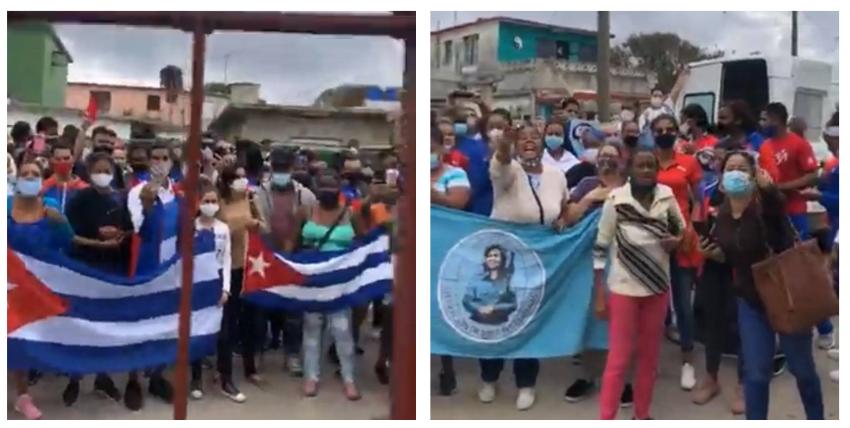 Defensores de la dictadura en Cuba realizan mitin de repudio a la periodista Iliana Hernández afuera de su casa en La Habana