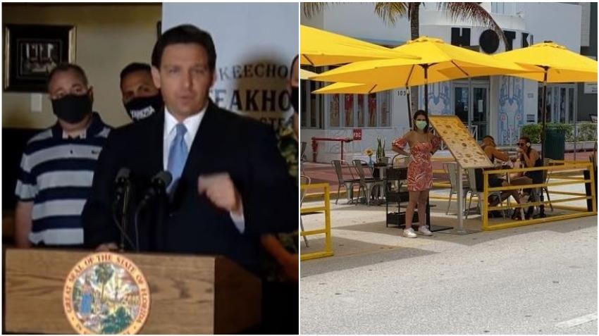 """Gobernador de Florida asegura que """"se interpondrá en el camino"""" si los líderes locales intentan cerrar restaurantes"""
