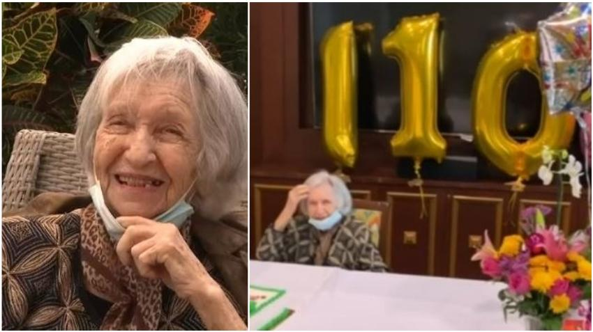 """Anciana de Miami Dade celebra con felicidad sus 110 cumpleaños; """"Soy una mujer afortunada"""""""