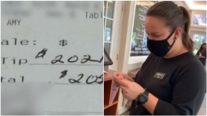 Camarera de un restaurante en el área de Tampa recibe propina de $ 2,000 de un cliente anónimo