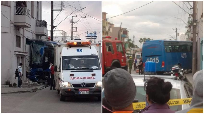 Aparatoso accidente en La Habana: Un autobús se estrella contra un edificio