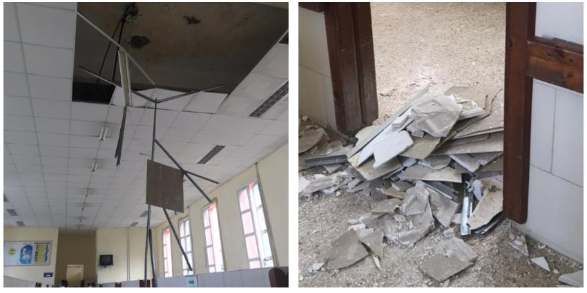 Encima de un paciente cayeron los pedazos del falso techo de uno de los salones del Hospital Calixto García