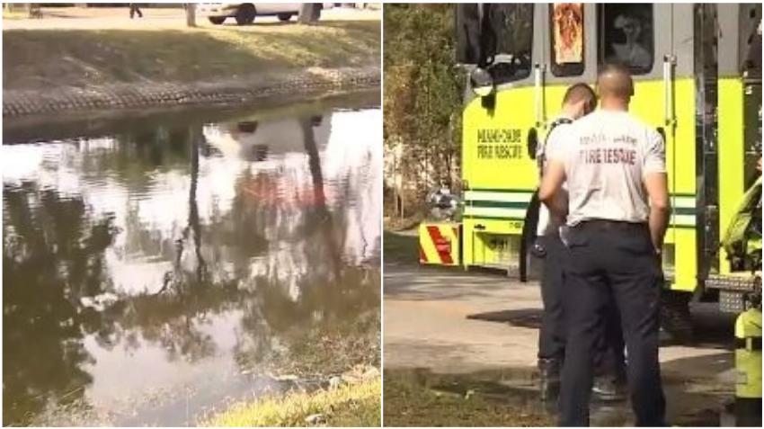 Encuentran vehículo desocupado sumergido en un canal en Opa Locka en Miami