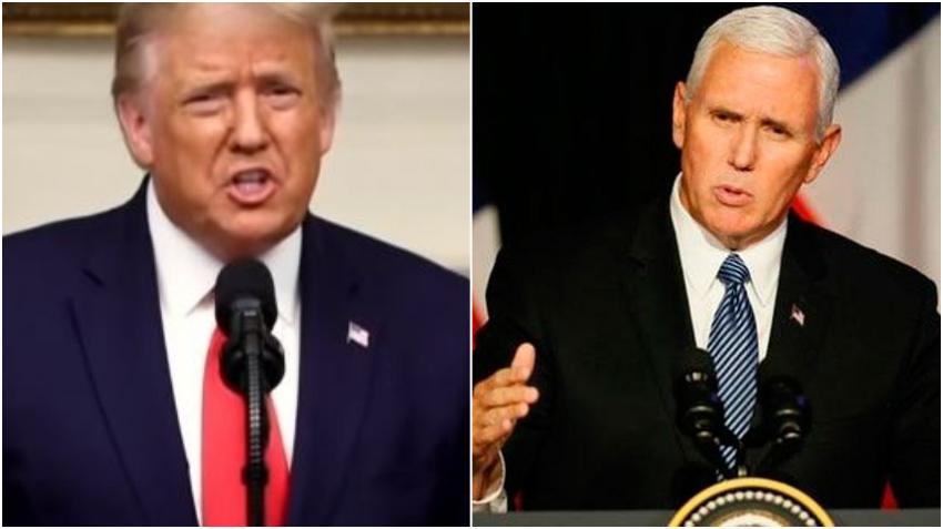 Presidente Donald Trump critica al vicepresidente Mike Pence por negarse a revertir los votos certificados por los estados